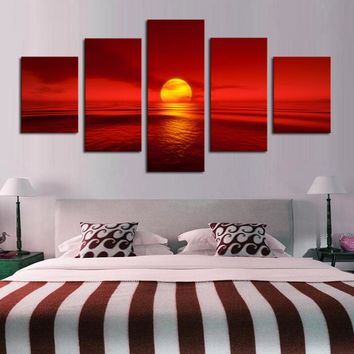 Canvas Paintings Modular Home Decor 5 Pieces Sunset Red Sun Sea Natural Landscape Poster Seascape Pictures Living Room Wall Art