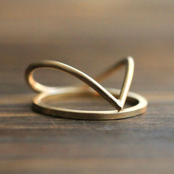 Unique Teardrop Two-Ring Set: 14K Gold Filled or Silver Ring and Accent GF or Silver Ring -Original Statement Stacking Rings By Pale Fish NY