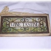 Wine Tasting Kitchen Decor Wooden Wall Art Sign Tuscan Drinking Bar *