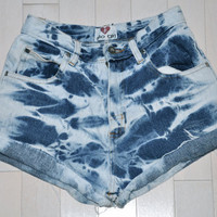 Acid Washed High Waisted Denim Shorts