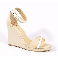 """Luichiny Natural Wrapped Wedge Sandal Gold Tone Details 4.25"""" Heel"""