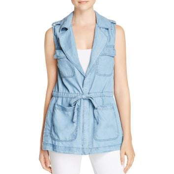 Sanctuary Womens Day Trip Chambray Utility Casual Vest