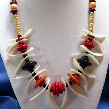 Sea Shell Necklace Hawaiian Nautical Dark Blue,Orange, Pink Coconut Beads with White Shells Vintage Tropical Necklace