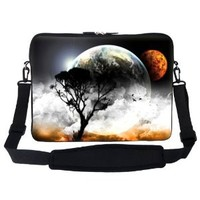 Meffort Inc 15 15.6 inch Neoprene Laptop Sleeve Bag Carrying Case with Hidden Handle and Adjustable Shoulder Strap - Planet View