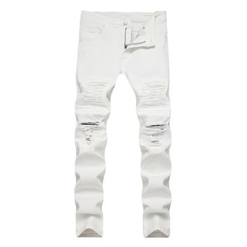 Ripped Holes Slim Stretch White Jeans [1574710673501]