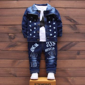 Baby Boys Clothing Set Girls Suits Denim Jeans Coat T-shirt Pants 3PCS Star Sets Toddler Kids Casual Clothes Children