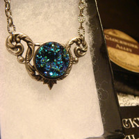 Victorian Style Blue Green Turquoise Faux Druzy / Drusy Necklace in Antique Silver (1745)