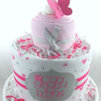 Butterfly diaper cake | Baby shower gift | Pink diaper cake | Girl baby shower | Baby shower decoration | New mom gift | Unique baby gift