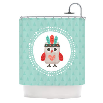 "Daisy Beatrice ""Hipster Owlet Mint Coral"" Teal Shower Curtain"