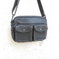Vintage Black Leather Messenger Bag , Leather Crossbody Bag / Medium /