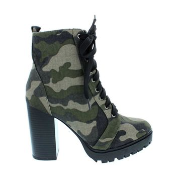 Chunky Heel Lace Up Combat Boot