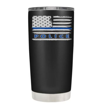 Faded Blue Line Police Flag on Black Matte 20 oz Stainless Steel Tumbler with Lid -  Police Officer Law Enforcement Gift