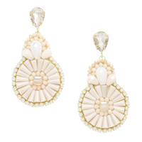 Peach Floral 3 Drop Fan Statement Earrings
