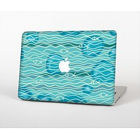 """The Blue Abstarct Cells with Fish Water Illustration Skin Set for the Apple MacBook Pro 15"""" with Retina Display"""