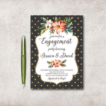 Engagement Invitation Printable, Digital File - Floral Engagement Party Invite, Black & Gold Invitation