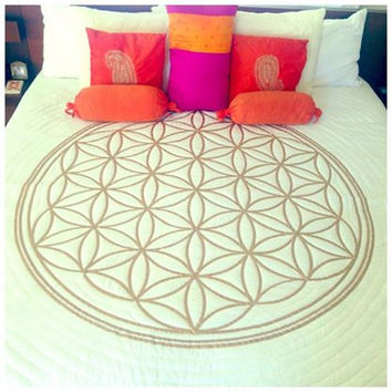 Flower of Life Hand Painted Crystal - Infused Quilt