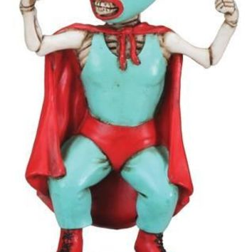 Mini Lucha Dore Masked Wrestler Day of the Dead Statue - T78960
