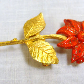 Vintage Catholic Miraculous Medal Brooch Red Flower Gold Tone Pin