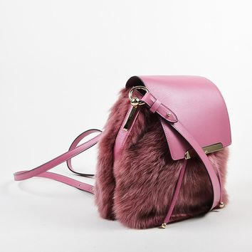 DCCK2 Rose ¡ë?¨¬?¨¬?Christian Louboutin Leather and Faux Fur Lucky L Bucket Backpack