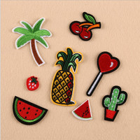 Cartoon Coconut Palm Cactus Fruit Patch Computer Embroidery Badges Can Be Hand Sewing Ironing Sticker On Cloth Garment NO.815