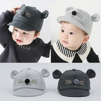 2018 Hot Infant Hats For Baby Girls Boys Autumn Caps Kids Baby Bear Ear Baseball Cap Cotton Baby Boy Hats Peaked Hat