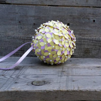 Yellow and Purple Paper Flower Pomander, Rustic Wedding Pomander, Flower Girl Pomander, Paper Flower Centerpiece, Baby Bridal Shower Decor