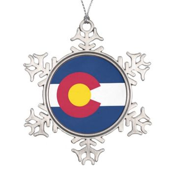 Snowflake Ornament with Colorado Flag