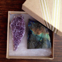 Labradorite and Amethyst Gift Set Crystal Gift Raw Crystal Healing Crystals and Stones Raw Amethyst Crystal Labradorite Crystal Set Bohemian