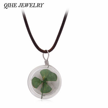 QIHE JEWELRY Glass Ball Bottle Dandelion Clover Real Flower Pendant Long Leather Chain Necklace Lucky Wish Jewelry For Women