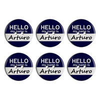Arturo Hello My Name Is Plastic Resin Button Set of 6