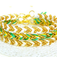 Irish Crème Trio Collection - Pearl, Clover Swirl, Sunflower, & Neutral - Chevron Beaded Braided Modern Friendship Bracelets