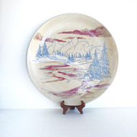 Gorgeous Vintage Stoneware Platter, Large Studio Pottery Chop Platter with Beautiful Mountain Scene