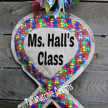 Autism Awareness Door Hanger* Autism Ribbon Burlap Door Hanger* Autism Wreath* Autism Ribbon Awareness* Autism Puzzle