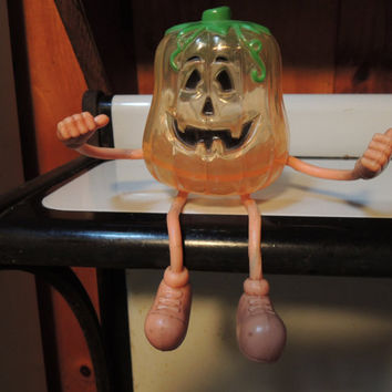Halloween Candy Container, Plastic pumpkin, Excellent condition, Hard to find, Vintage