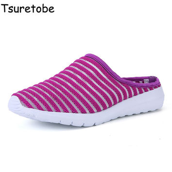 Tsuretobe Breathable Casual Women Sandals Water Shoes House Slippers Cute Mesh Beach Female Slippers Women Summer Home Shoes