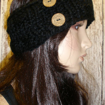 Knit Headband Ear Warmer Hand Knit Black Woodsy Chunky Ribbed With Two Buttons