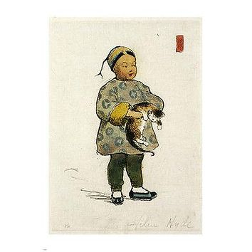 HELEN HYDE the cat & the cherub VINTAGE FINE ARTS poster 1897 24X36 CHINESE