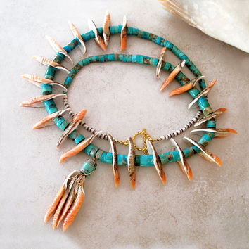 Vintage Native American Turquoise Heishi, Shell Necklace- Redesigned Navajo Ethnic Tribal Beaded Necklace- Turquoise Gemstone Necklace