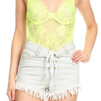 Ain't She Sweet Neon Lime Sheer Mesh Lace Sleeveless Spaghetti Strap V Neck Cut Out Back Bodysuit Top