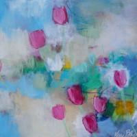 """SALE CODE 25% Original Abstract Painting, Flowers in Acrylic, Pink, Blue, Cheerful, """"Breezy Tulips in the Garden"""""""