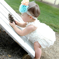 Romper, Lace Romper, Photo Prop, Photography Prop, Baby, Wedding, Headband, Baby Romper, Ivory Romper, Ivory Lace Romper, Vintage Lace