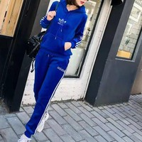 """Adidas""Women's Leisure Fashion Letter Printing Long Sleeve Trousers Two-Piece Sports Suit"