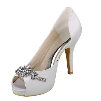 [48.44] Chic Satin Upper Peep Toe Stiletto Heels Bridal Shoes With Rhinestones - dressilyme.com