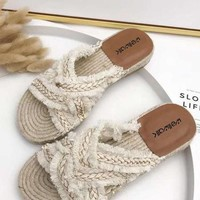 Hemp Braided Slippers - Creme