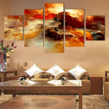 Fashion 5 pcs/set Large Canvas Art Abstract canvas Painting color cloud Wall Decor Pictures no framed F100
