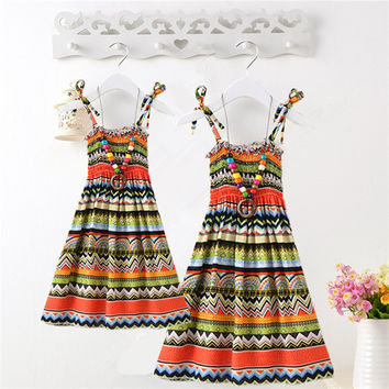 Sexy Summer Mother Daughter Dress Casual Boho Vestidos Mommy And Me Clothes Print Family Look Matching Beach Mom Girls Dresses
