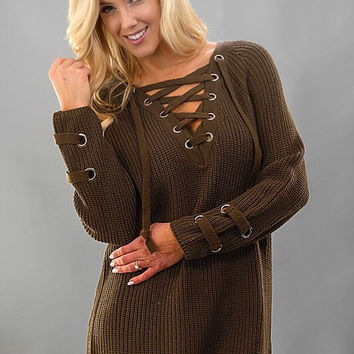Oversized Lace Up Sweater - Olive