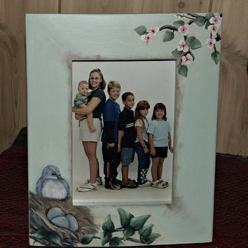 Hand Painted Solid Wood Picture Frame Holds a 5x7 Photo, Home Decor