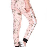 BLUSH FLORAL PRINT FULL LENGTH RELAX FIT JOGGER WITH SIDE STRIPE AND POCKETS