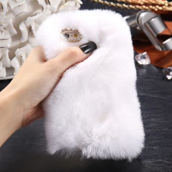 KISSCASE Fuzzy Rabbit Fur Case For iPhone 7 7 Plus 6 6s Plus 5 5s SE Case Lovely Cute Full Protective Back PC Phone Shell Capa